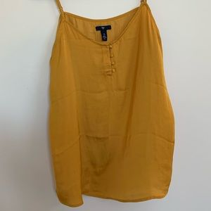 EUC Gap Mustard Yellow Top with Button Detail